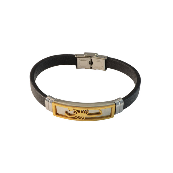 Sarah Stainless Zodiac Scorpio Design with Black Faux Leather Bracelet for Men