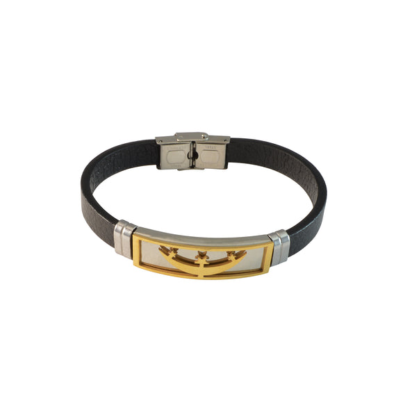 Sarah Two Tone Star Design Stainless Steel Faux Leather Bracelet for Men