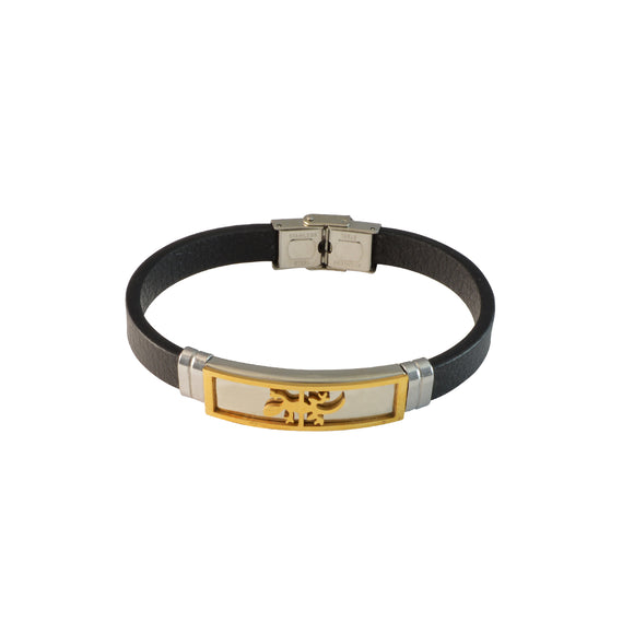 Sarah Two Tone Lizard Design Stainless Steel Faux Leather Bracelet for Men