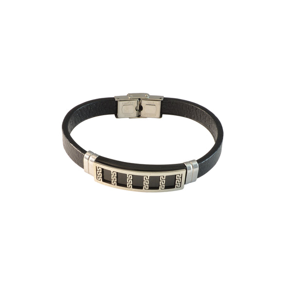 Sarah Stainless Steel Greek Design with Black Faux Leather Bracelet for Men