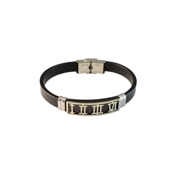 Sarah Stainless Steel Roman Numbers Design with Black Faux Leather Bracelet for Men
