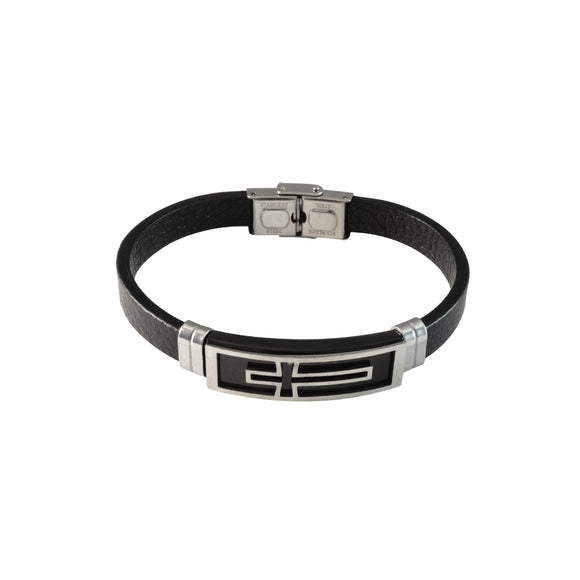 Sarah Stainless Steel Crucifix Cross Leather Bracelets Cuff Bangle Wrist Band Bracelet, Black