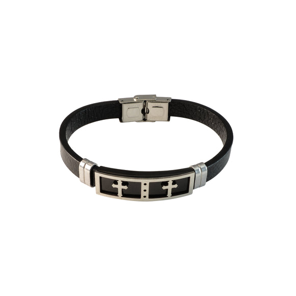 Sarah Stainless Steel Cross Leather Bracelets Cuff Bangle Wrist Band Bracelet, Black
