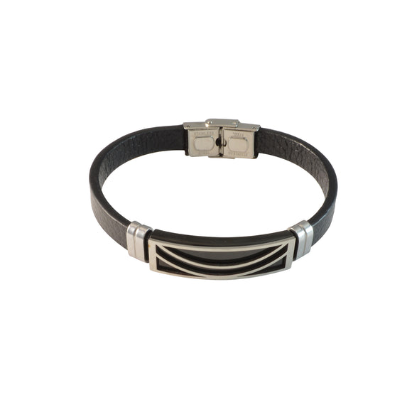 Sarah Stainless Steel with Black Faux Leather Bracelet for Men