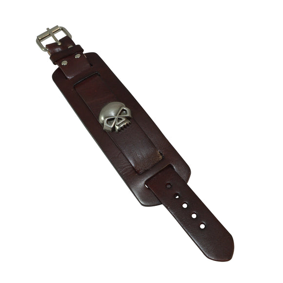 Sarah Leather Cuff Double Wide Bracelet Fashionable Adjustable Wristband with Skull Bracelet for Boys