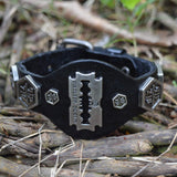 Sarah Leather Cuff Double Wide Bracelet Fashionable Adjustable Wristband with Blade Charm Black Bracelet for Boys