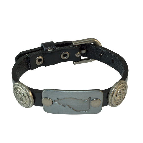 Sarah Leather Fashionable Adjustable Wristband with Wolf and Anchor Charms Bracelet for Boys