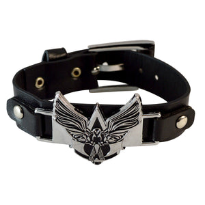 Sarah Rock Punk Stainless Steel Flying Eagle Bangle Bracelet Black Leather Adjustable Wristband for Men