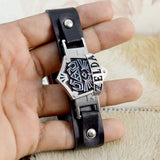 Sarah Rock Punk Stainless Steel The Legend of ZELDA Bracelet Black Leather Adjustable Wristband for Men