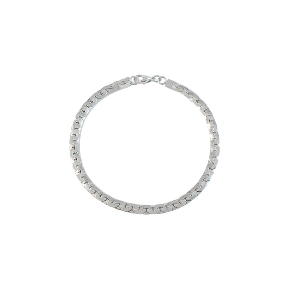 Sarah Cuban Curb Chain Bracelet Silver Stainless Steel 5mm Cuban Curb Chain Bracelet for Boys & Men