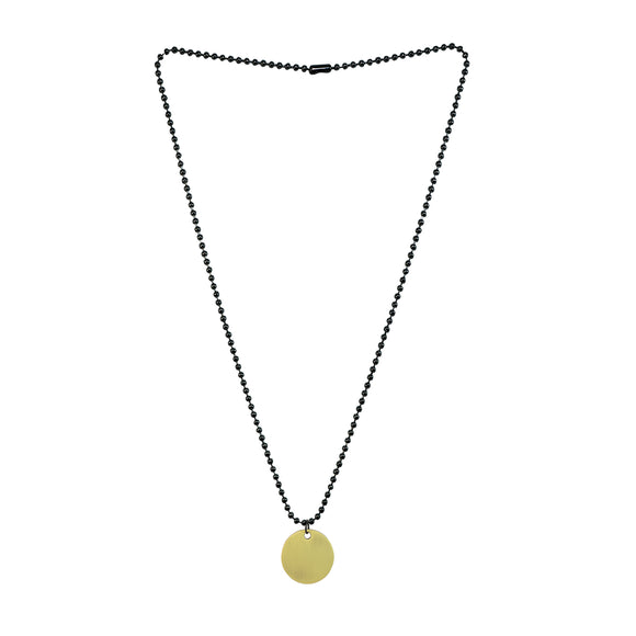 Sarah Round Pendant Necklace/Dog Tag For Men - Gold Tone