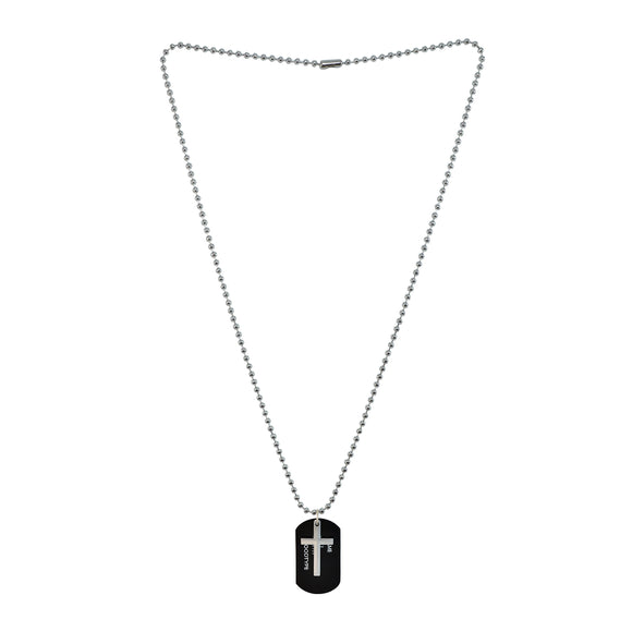 Sarah Military Theme Cross Pendant Necklace/Dog Tag For Men - Black