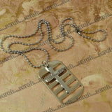 Sarah Cross Pendant Necklace/Dog Tag For Men - Silver Tone
