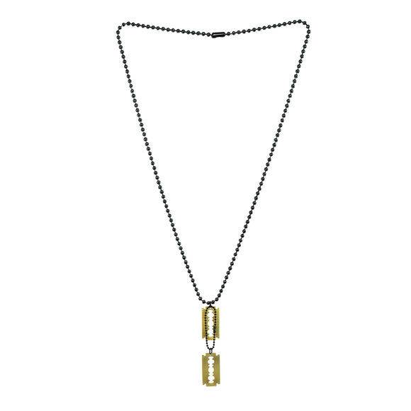 Sarah Blade Pendant Necklace/Dog Tag For Men - Gold Tone