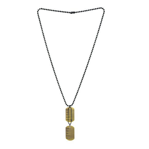 Sarah Military Theme Pendant Necklace/Dog Tag For Men - Gold Tone