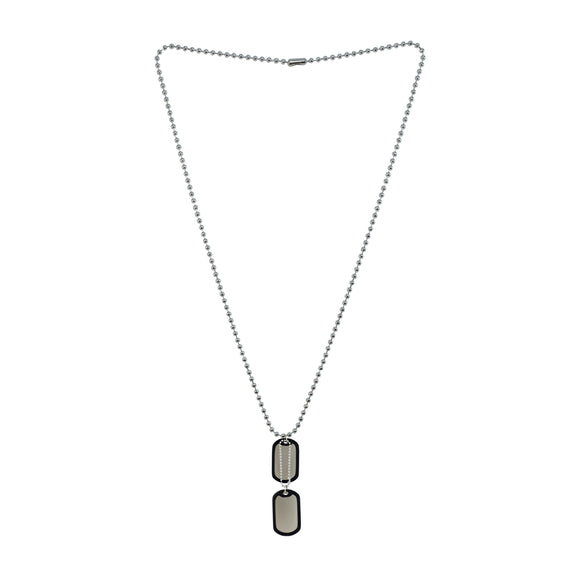Sarah Plain Bordered Pendant Necklace/Dog Tag For Men - Silver Tone