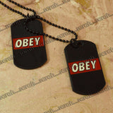 Sarah OBEY Pendant Necklace/Dog Tag For Men - Black
