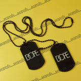 Sarah Lacquered Pendant Necklace/Dog Tag For Men - Black