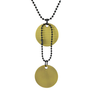 Sarah Round Plain Pendant Necklace-Dog Tag For Men - Gold Tone