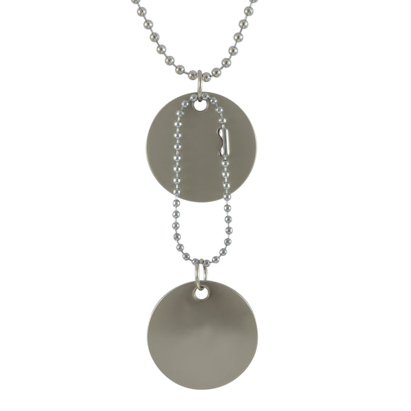 Sarah Round Plain Pendant Necklace-Dog Tag For Men - Silver Tone