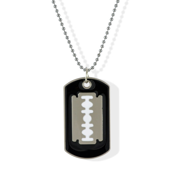Sarah Razor Blade Black Pendant Necklace Dog Tag For Men