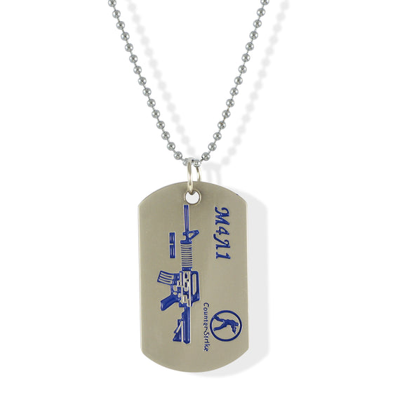 Sarah M4A1 Rifle Silver Pendant Necklace Dog Tag For Men