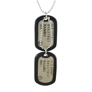 Sarah US Army Pendant Necklace Dog Tag For Men - Silver