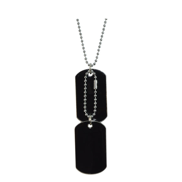 Sarah Plain Double Dog Tag Steel Ball Chain Pendant Necklace(Black)
