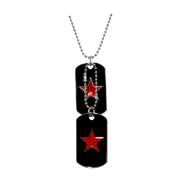 Sarah Star of David Double Dog Tag Steel Ball Chain Pendant Necklace