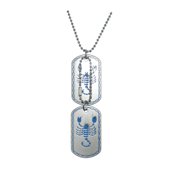 Sarah Stainless Steel Scorpio Astrology Zodiac Sign Dog Tag Pendant Necklace