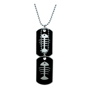Sarah Fish Bone Engraved Stainless Steel Dog Tag Pendant Necklace