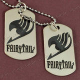 Sarah Stainless Steel Plain Fairy Tail Dog Tag Steel Ball Chain Double Pendant Necklace(Black)
