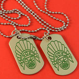 Sarah Native American Indian Skull Dog Tag Pendant Necklace for Men