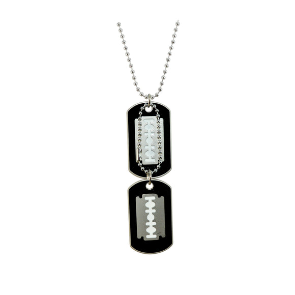 Sarah Hip Hop Double Pendant Blade Dog Tag For Men