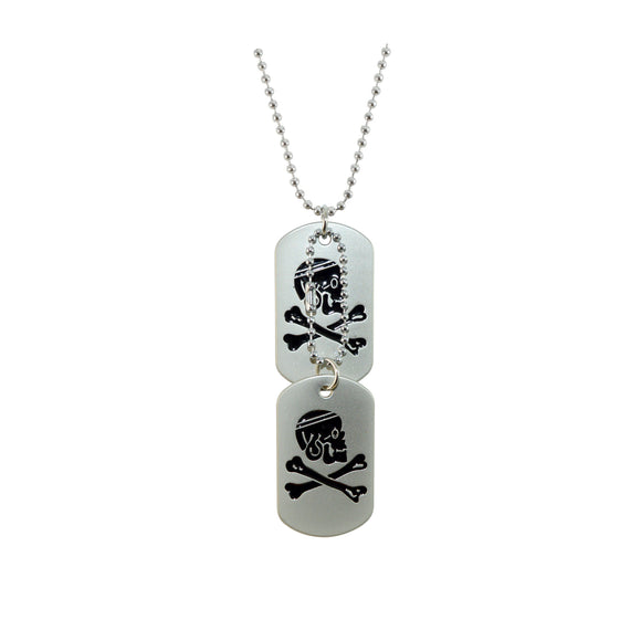 Sarah Skull and Cross Bones Warning Logo Symbols Stainless Steel Dog Tag