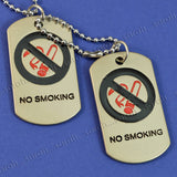 Sarah No Smoking Symbols Stainless Steel Double Pendant Dog Tag