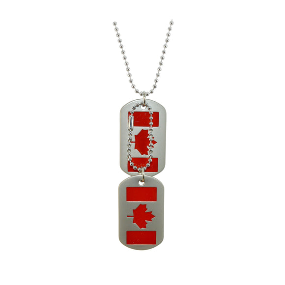 Sarah Canada Flag Dog Tag Steel Ball Chain Double Pendant Necklace