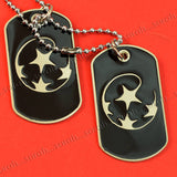 Sarah Hip Hop Double Pendant Four Stars Black Enameled Dog Tag