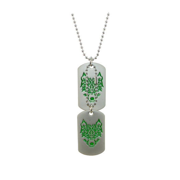 Sarah Classic Green Symbol Stainless Steel Double Dog Tag Steel Ball Chain Pendant Necklace(Silver and Green)