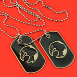 Sarah Stainless Steel Eagle Face Double Pendant Dog Tag