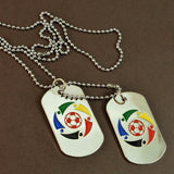 Sarah Stainless Steel Red and White Soccer Ball Double Pendant Dog Tag
