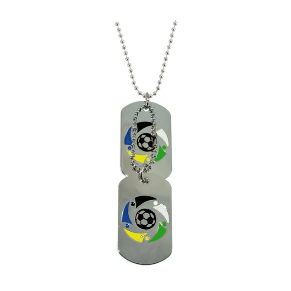 Sarah Stainless Steel Black and White Soccer Ball Double Pendant Dog Tag