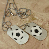 Sarah Stainless Steel Black and White Soccer Ball Double Pendant Dog Tag Necklace for Girls and Boys