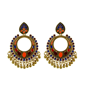Sarah Fashion Jewellery Bohemian Stylish Gold Finish Multi-Color Fancy Party Wear Earrings for Girls and Women