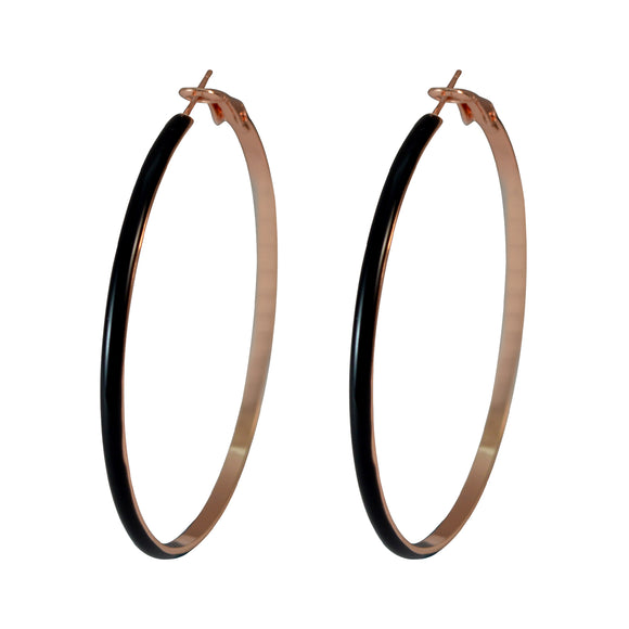 Sarah Black Color Party Wear Hoops Fashion Big Size Round Flat Hoop Bali Earrings for Girls and Women, 6cm