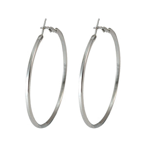 Sarah Stainless Steel Flat Round Big Hoop Silver Fashion Party Wear Hoop Earrings for Girls and Women, 5.5cm