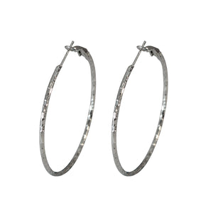 Sarah Stainless Steel Rounded Dimpled Medium Hoop Silver Fashion Party Wear Hoop Earrings for Girls and Women, 5cm