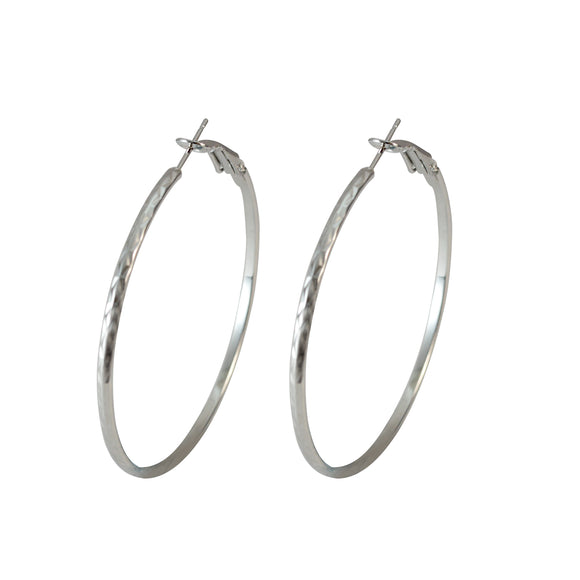 Sarah Stainless Steel Rounded Medium Hoop Silver Fashion Party Wear Hoop Earrings for Girls and Women, 5cm
