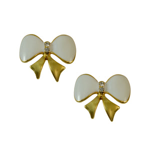 Sarah Sparkling Bow Shaped Gold Toned with Rhinestones Stud Earring for Girls & Women