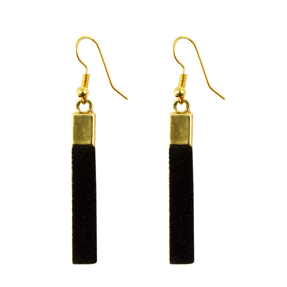 Sarah Classic Velvet Fabric long rectangular shape Golden Finish Dangle & Drop Earrings for Girls and Women